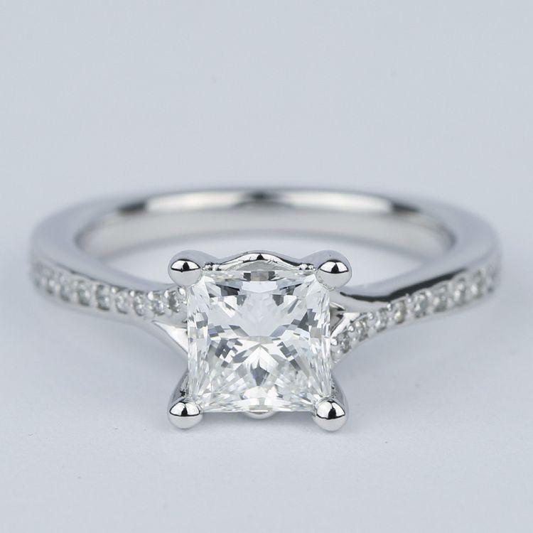 Split Shank Princess Diamond Engagement Ring (1.28 Carat)