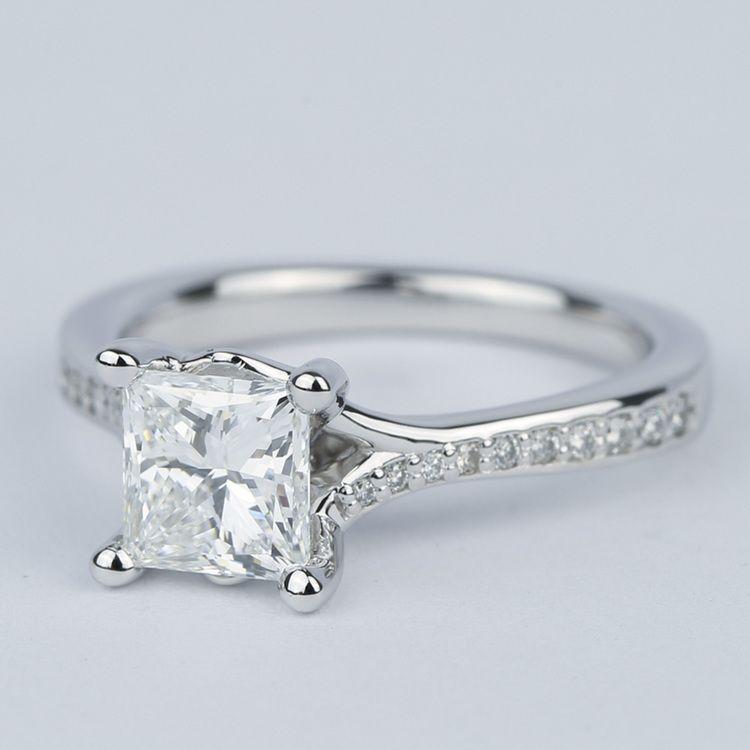 Split Shank Princess Diamond Engagement Ring (1.28 Carat) angle 2