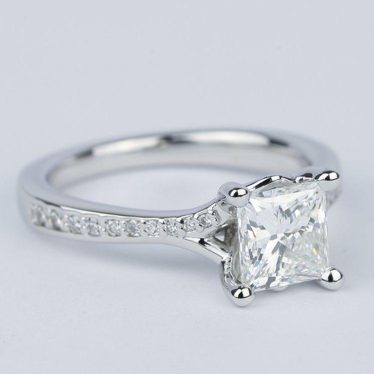 Split Shank Princess Diamond Engagement Ring (1.28 Carat) angle 3
