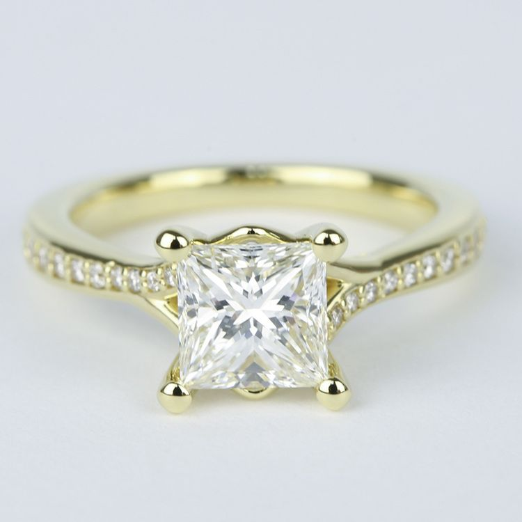 Princess Diamond Engagement Ring with Split Shank Micropave