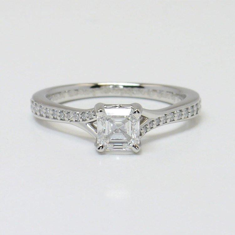 0.90 Carat Split Shank Asscher Micropave Diamond Engagement Ring