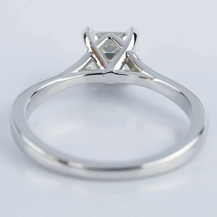 Split Shank Micropave Asscher Diamond Engagement Ring in White Gold (1.24 ct.)  angle 4