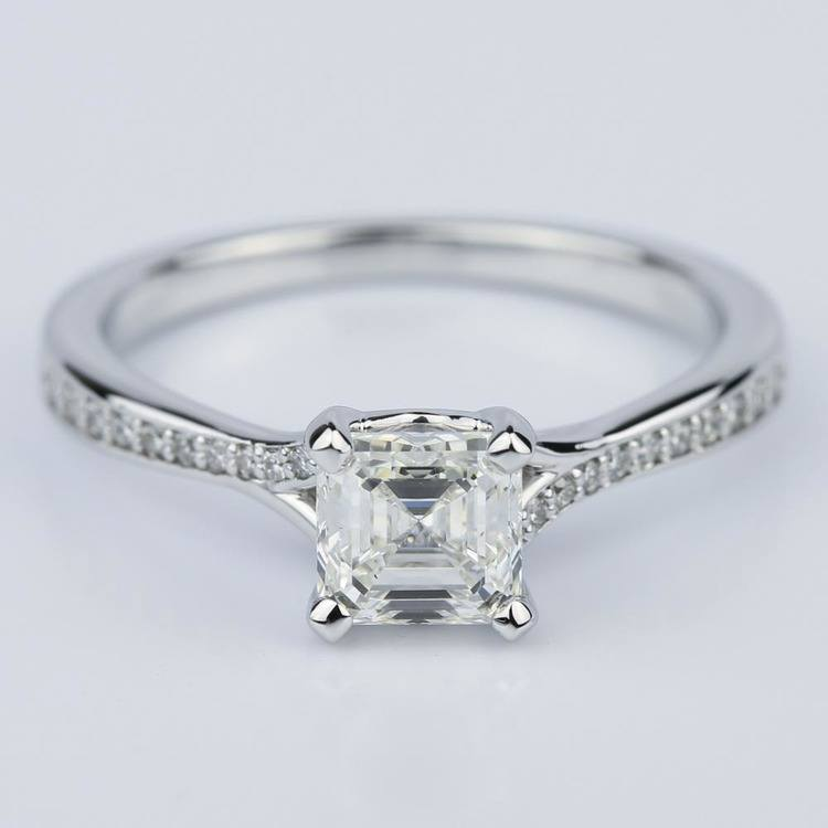Split Shank Micropave Asscher Diamond Engagement Ring in White Gold (1.24 ct.)