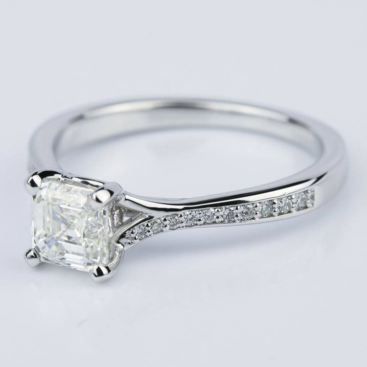 Split Shank Micropave Asscher Diamond Engagement Ring in White Gold (1.24 ct.)  angle 2