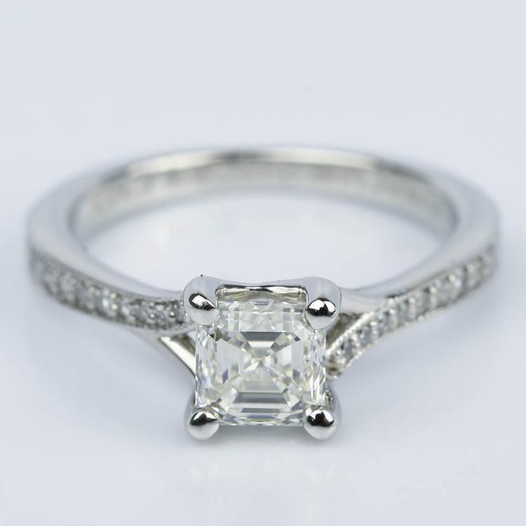Split Shank Micropave Asscher Diamond Ring with Milgrain (0.95 ct.)