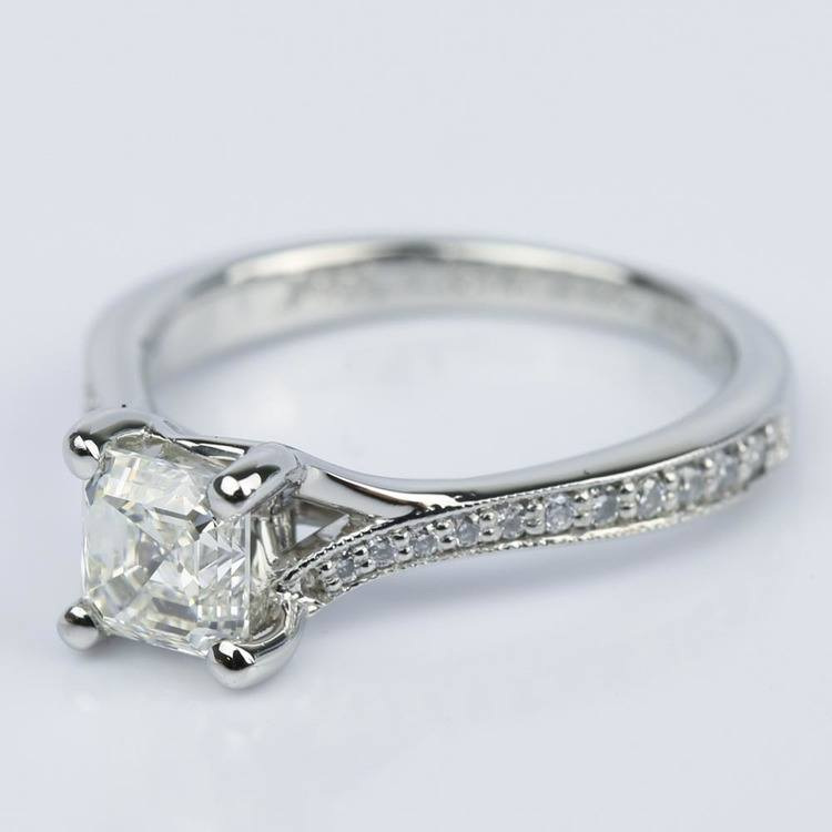 Split Shank Micropave Asscher Diamond Ring with Milgrain (0.95 ct.) angle 2