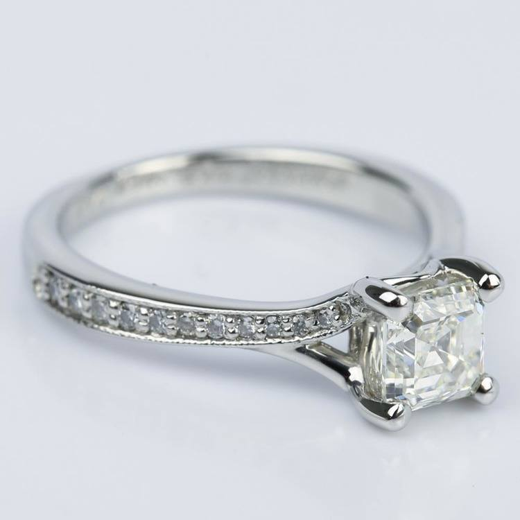Split Shank Micropave Asscher Diamond Ring with Milgrain (0.95 ct.) angle 3