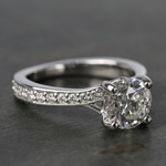 Split Shank Bead-Set Diamond Engagement Ring (1.50 Carat) - small angle 3