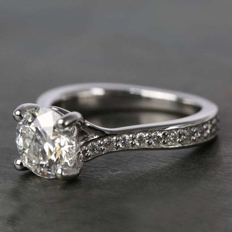Split Shank Bead-Set Diamond Engagement Ring (1.50 Carat) angle 2