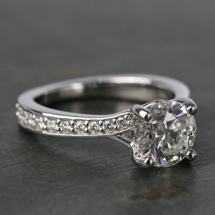 Split Shank Bead-Set Diamond Engagement Ring (1.50 Carat) angle 3