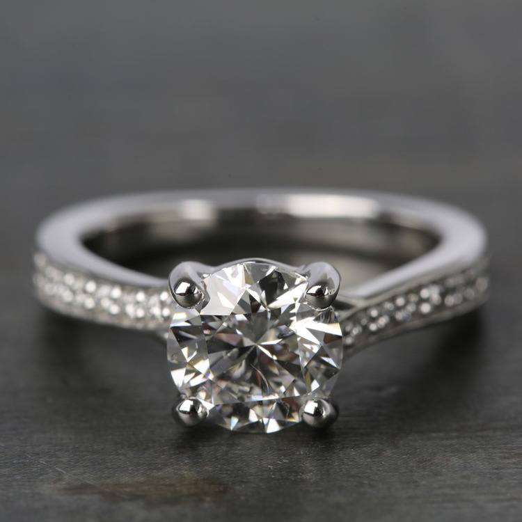 Split Shank Bead-Set Diamond Engagement Ring (1.50 Carat)