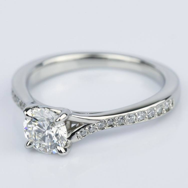 Split Shank Micropave Diamond Engagement Ring in Palladium (0.70 ct.) angle 2