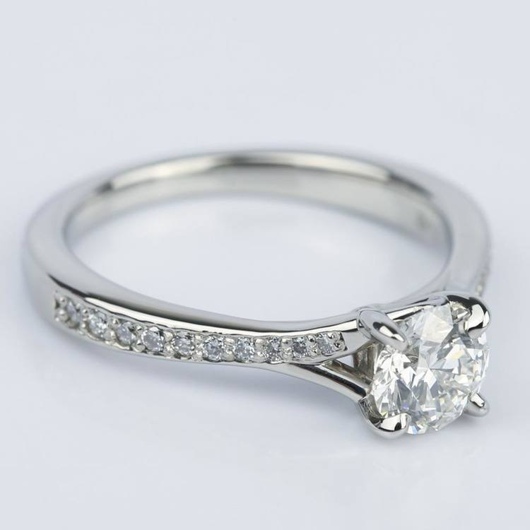 Split Shank Micropave Diamond Engagement Ring in Palladium (0.70 ct.) angle 3
