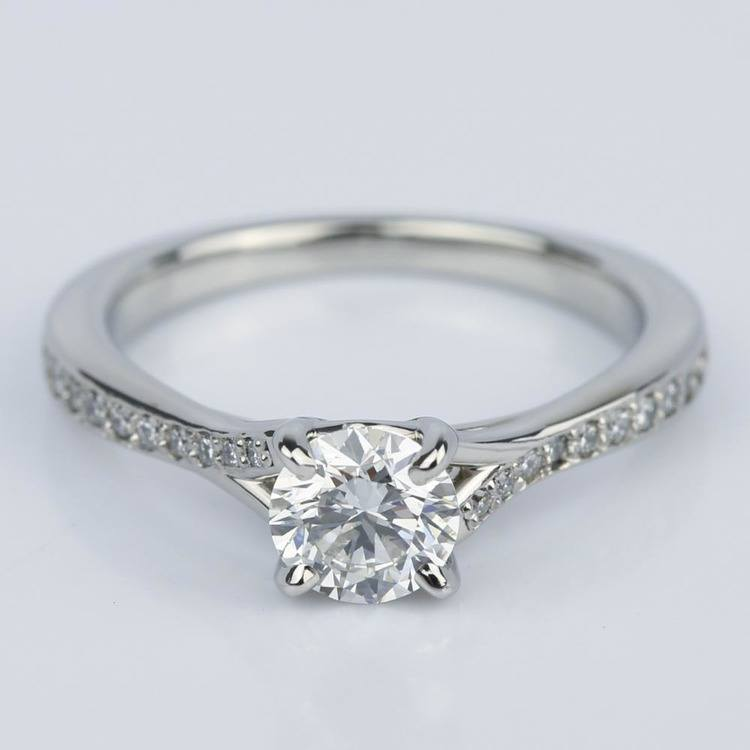 Split Shank Micropave Diamond Engagement Ring in Palladium (0.70 ct.)