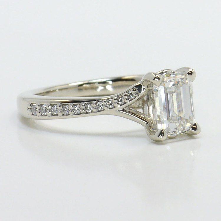 Split Shank Micropave Diamond Engagement Ring angle 3