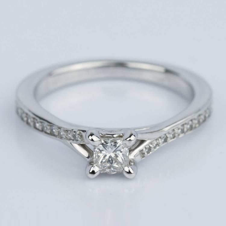 Split Shank Micropave Princess Engagement Ring (0.25 ct.)