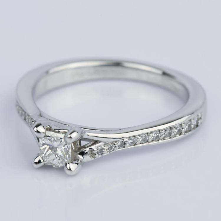 Split Shank Micropave Princess Engagement Ring (0.25 ct.) angle 2