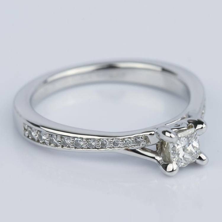 Split Shank Micropave Princess Engagement Ring (0.25 ct.) angle 3