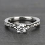 Split Shank Micropave Round Loose Diamond Engagement Ring In White Gold - small