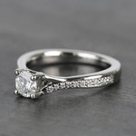 Split Shank Micropave Round Loose Diamond Engagement Ring In White Gold - small angle 2