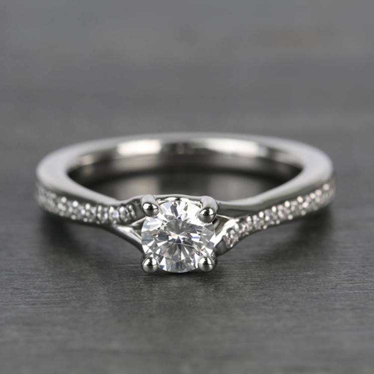 Split Shank Micropave Round Loose Diamond Engagement Ring In White Gold