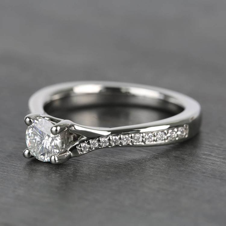 Split Shank Micropave Round Loose Diamond Engagement Ring In White Gold angle 2