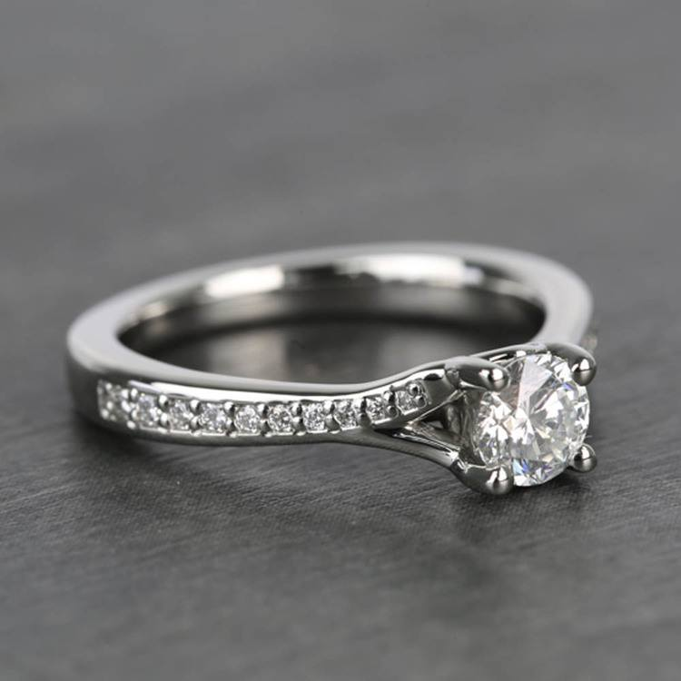 Split Shank Micropave Round Loose Diamond Engagement Ring In White Gold angle 3