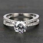 Custom Split Shank Pave Diamond Engagement Ring (1.20 Carat) - small