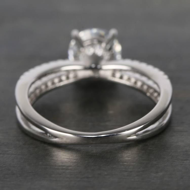 Custom Split Shank Pave Diamond Engagement Ring (1.20 Carat) angle 4