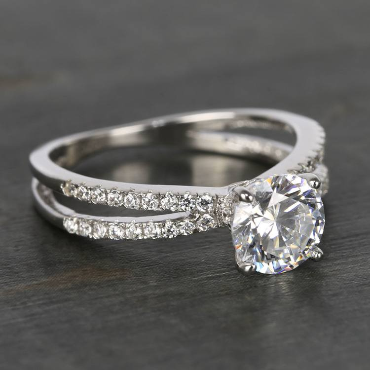 Custom Split Shank Pave Diamond Engagement Ring (1.20 Carat) angle 3