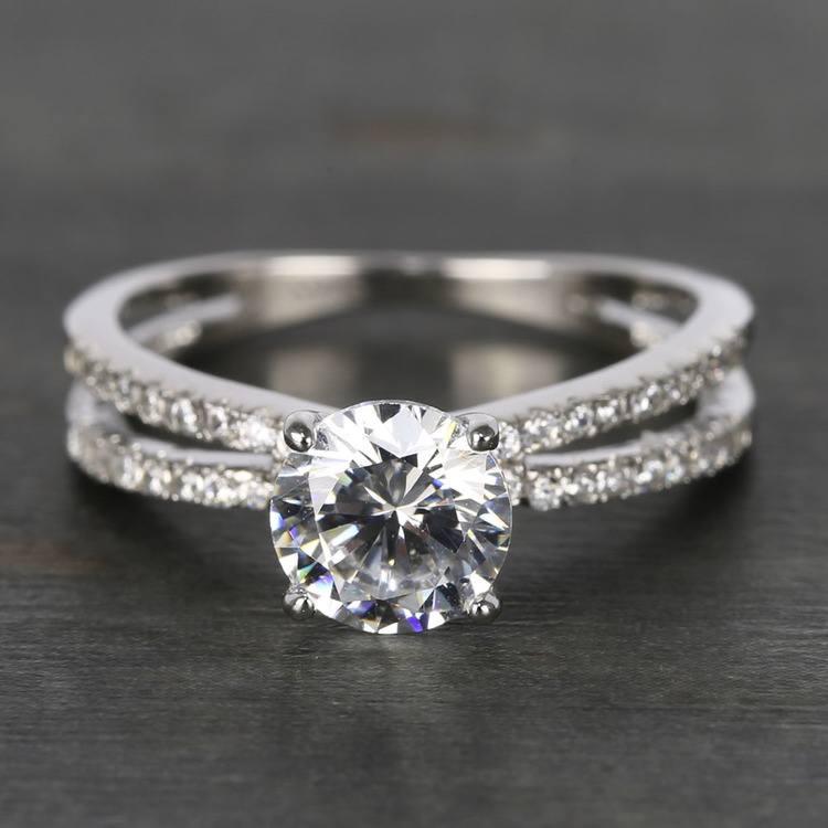 Custom Split Shank Pave Diamond Engagement Ring (1.20 Carat)