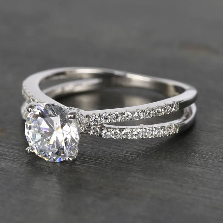 Custom Split Shank Pave Diamond Engagement Ring (1.20 Carat) angle 2
