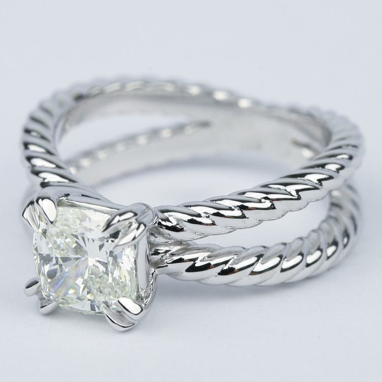 Twisted Rope Split Shank Diamond Engagement Ring 1 50 Carat