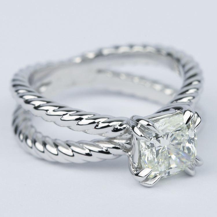 Twisted Rope Split Shank Diamond Engagement Ring (1.50 Carat) angle 3