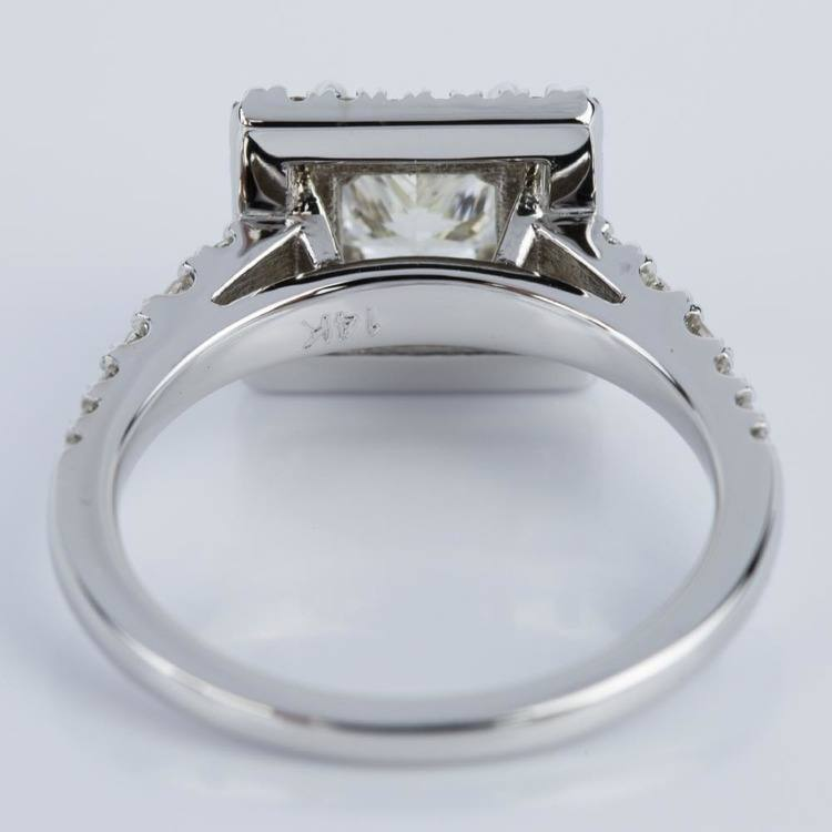 Princess Square Double Halo Diamond Engagement Ring in White Gold (1.21 ct.) angle 4
