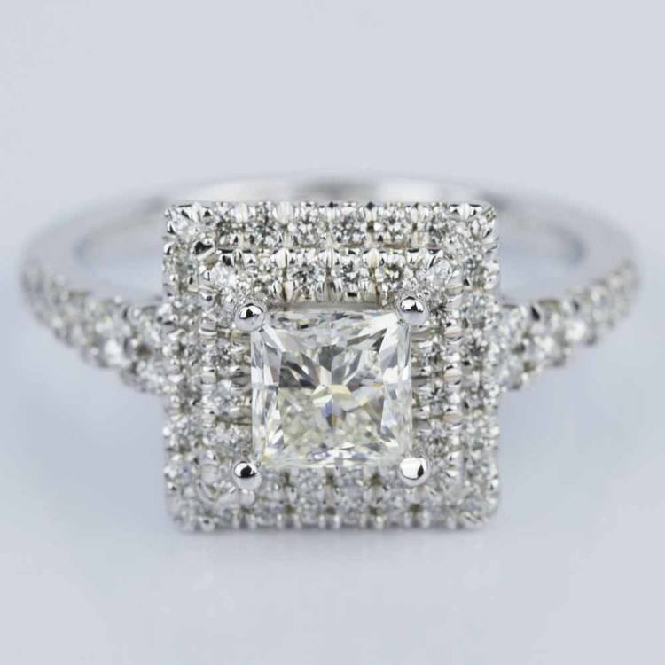 Princess Square Double Halo Diamond Engagement Ring in White Gold (1.21 ct.)