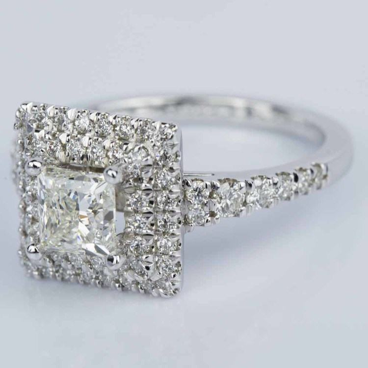 Princess Square Double Halo Diamond Engagement Ring in White Gold (1.21 ct.) angle 2