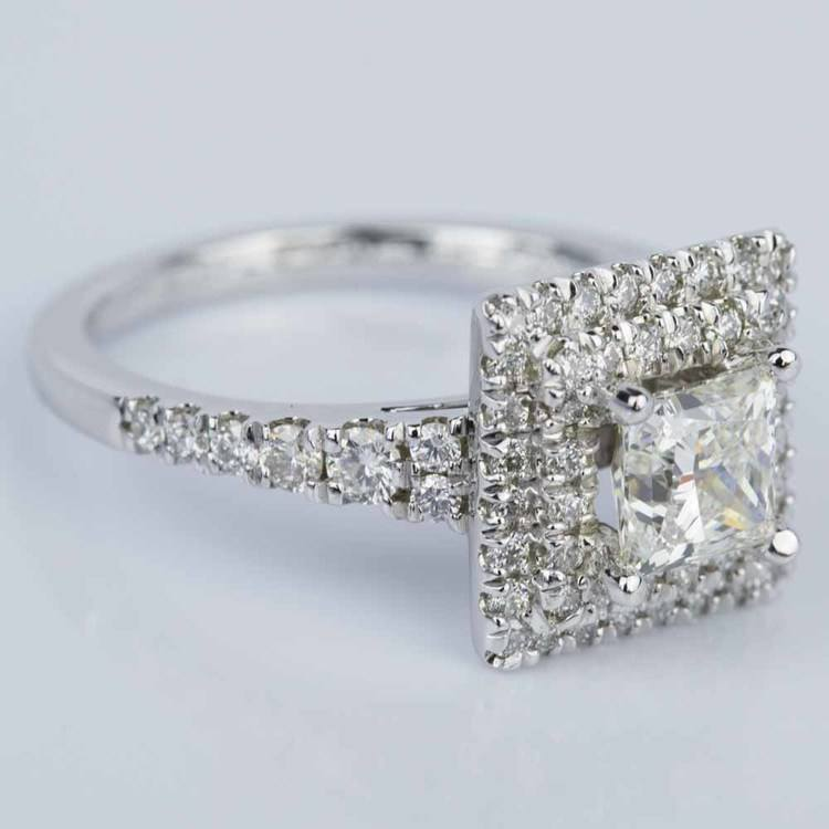 Princess Square Double Halo Diamond Engagement Ring in White Gold (1.21 ct.) angle 3