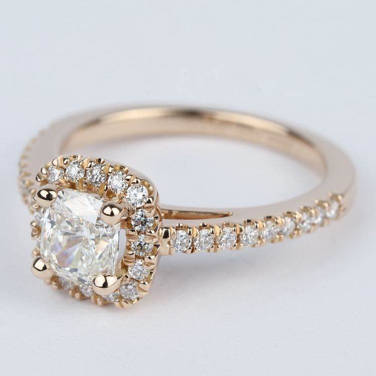Square Halo Cushion Diamond Engagement Ring in Rose Gold angle 2