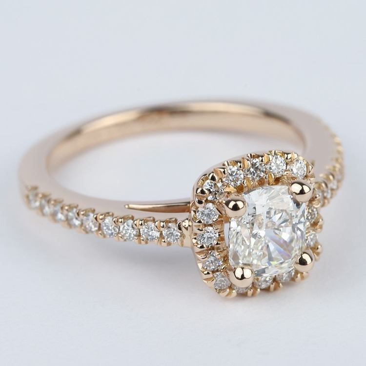 Square Halo Cushion Diamond Engagement Ring in Rose Gold angle 3