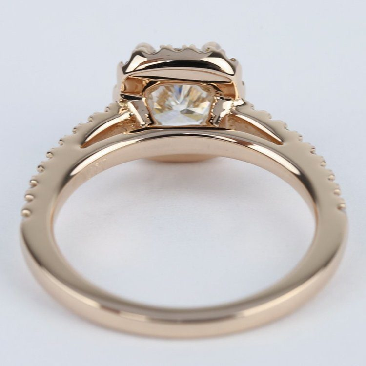 Square Halo Cushion Diamond Engagement Ring in Rose Gold angle 4
