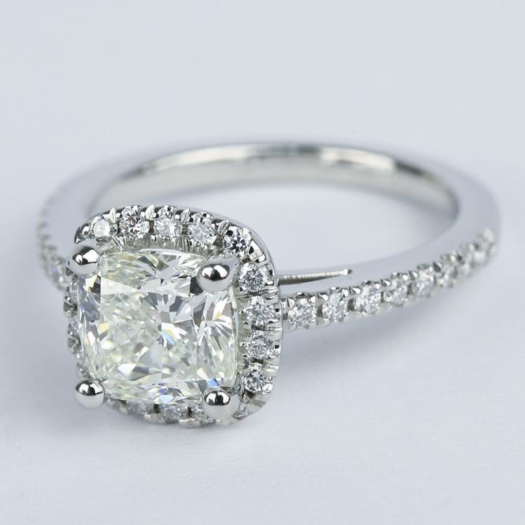 Square Halo Cushion Diamond Engagement Ring (1.80 ct.) angle 2