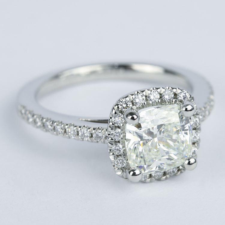 Square Halo Cushion Diamond Engagement Ring (1.80 ct.) angle 3