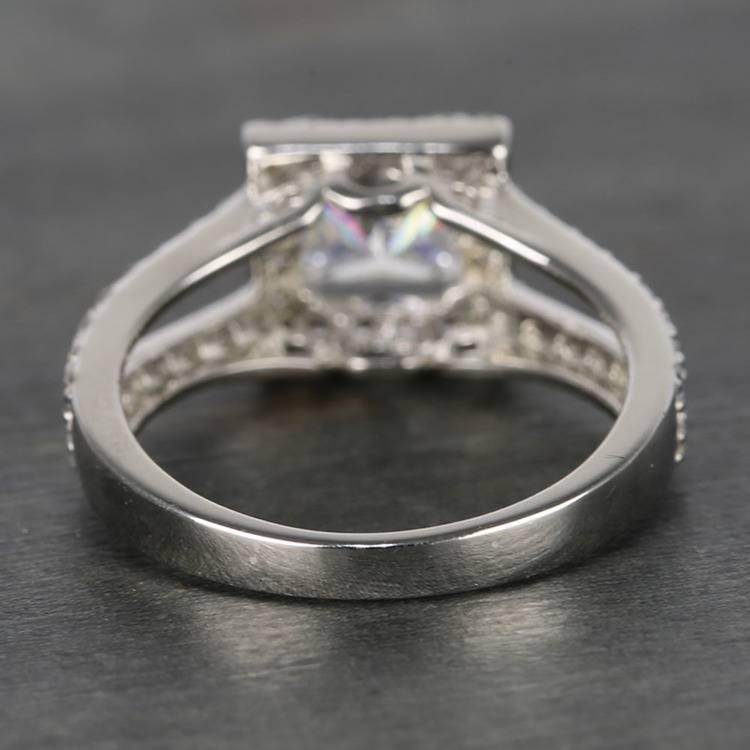 Square Halo 1 Carat Princess Split Shank Diamond Engagement Ring angle 4