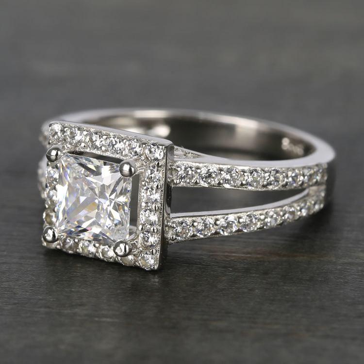 Square Halo 1 Carat Princess Split Shank Diamond Engagement Ring angle 2