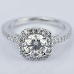Square Halo 1 Carat Diamond Engagement Ring in White Gold - small