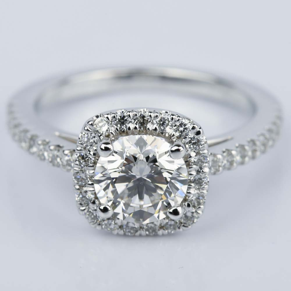 square halo 1 carat diamond engagement ring in white gold. Black Bedroom Furniture Sets. Home Design Ideas