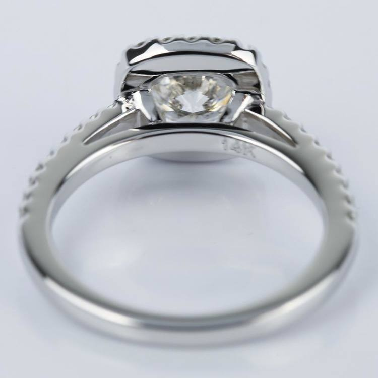 Square Halo 1 Carat Diamond Engagement Ring in White Gold angle 4