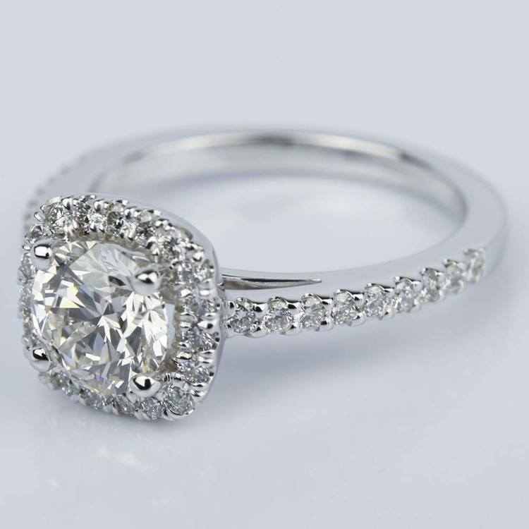 Square Halo 1 Carat Diamond Engagement Ring in White Gold angle 2