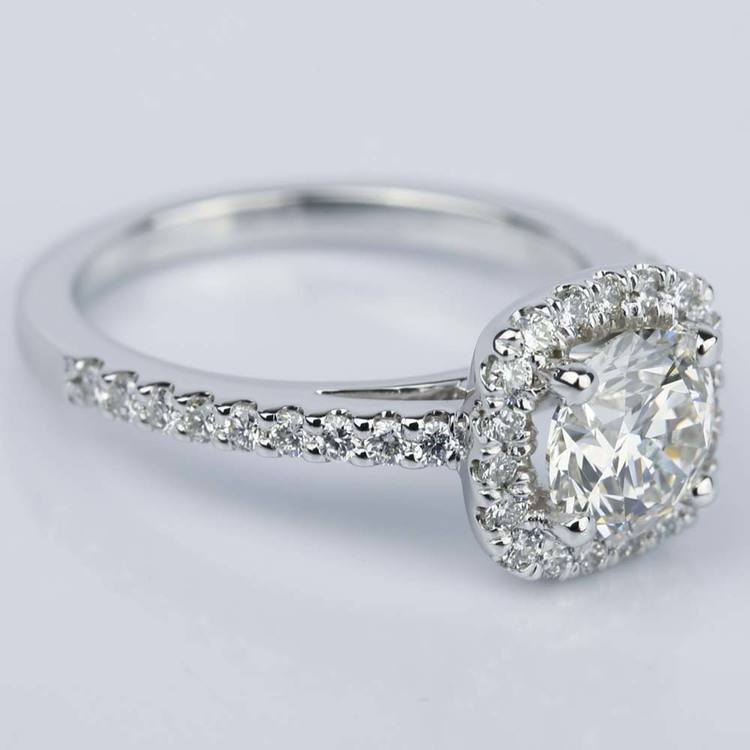 Square Halo 1 Carat Diamond Engagement Ring in White Gold angle 3